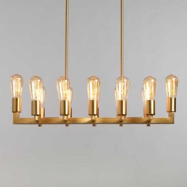 Gold Linear 12 Light Adjustable Height Reya Chandelier   World ...