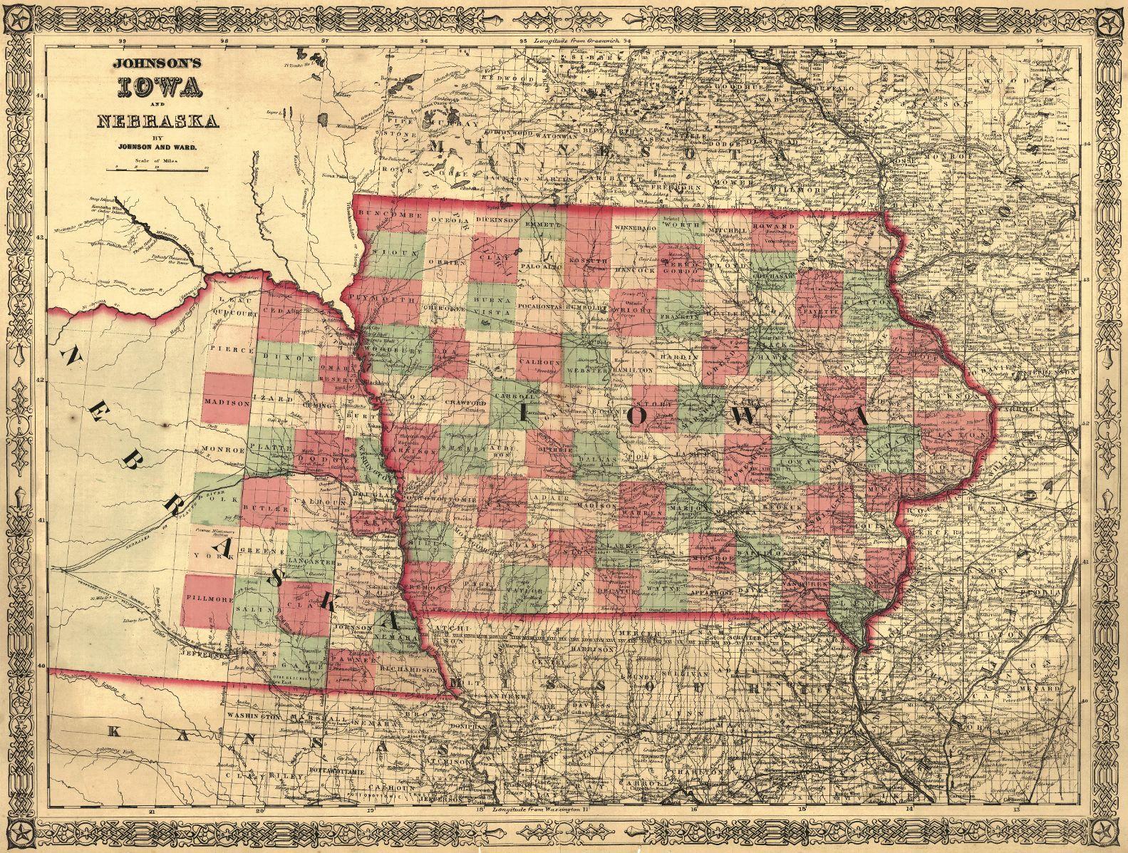 map antique. johnson's iowa and nebraska. johnson and ward