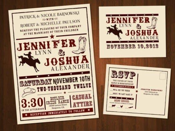 Country Western Wedding Invitation Cowboy Ideas