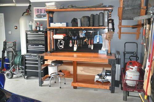 Workbench Table Kit Diy Bench Custom Storage Wooden Garage Shelf