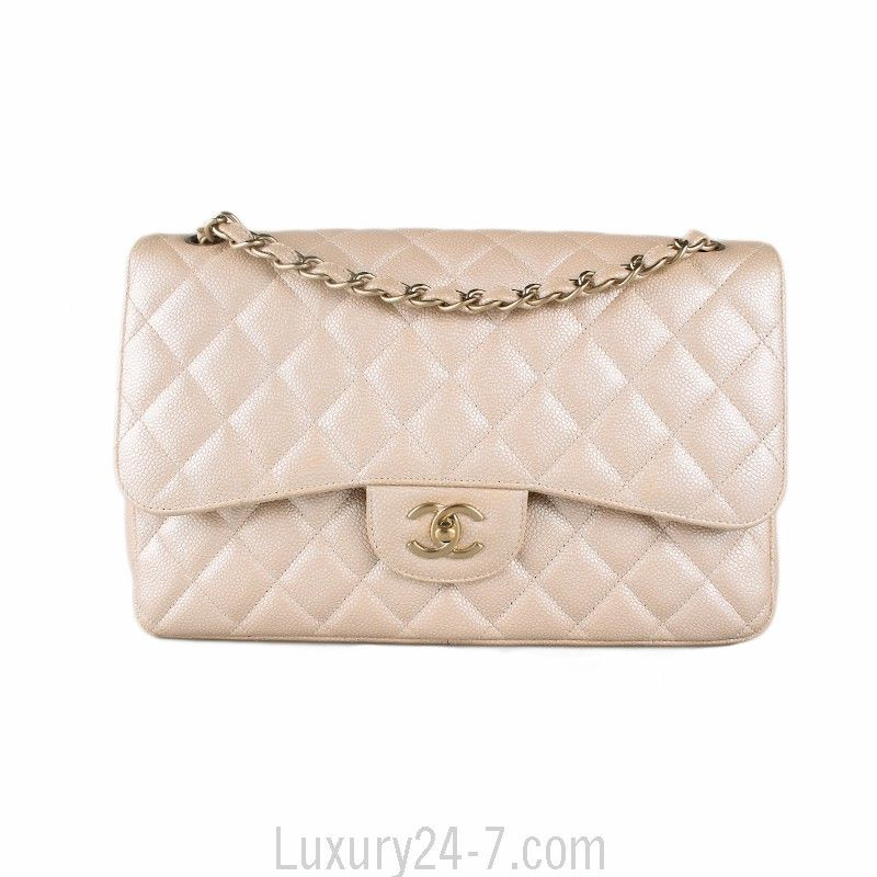 4a12d90d7a4a52 Chanel Pearlescent Beige Caviar Jumbo Flap Bag | Chanel in 2019 ...