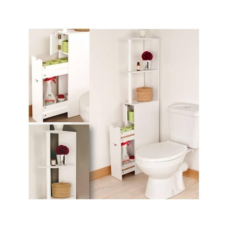 Meuble WC étagère bois Gain de place pour toilettes 3 portes