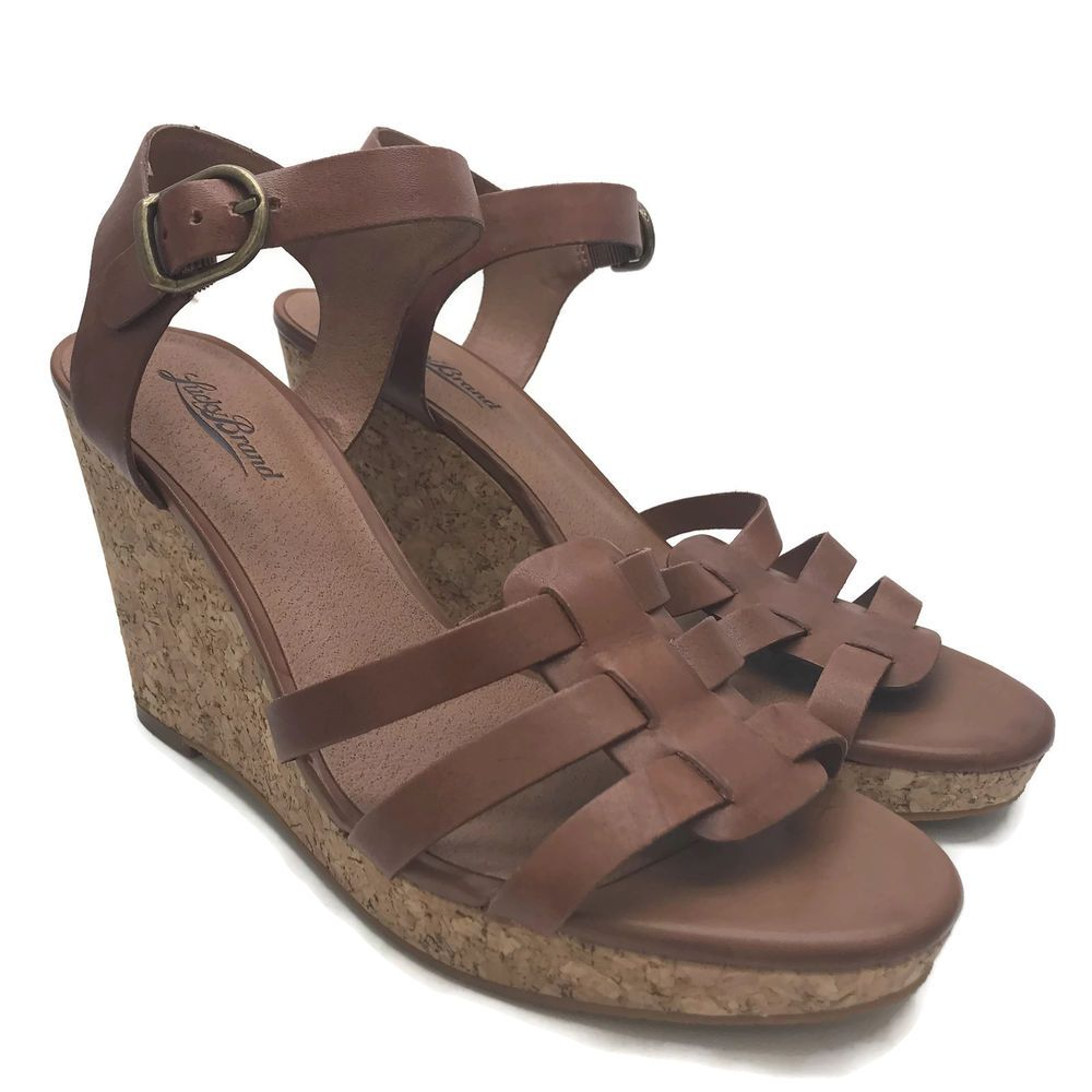 5a9efb2f518b Lucky Brand Willow Women s Brown Cork Wedge Strappy Sandals Shoes Size 10   LuckyBrand  PlatformsWedges  Casual