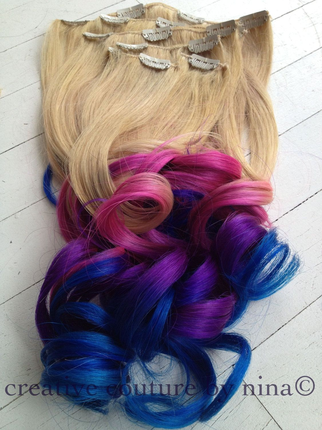 Ombre Hairtie Dye Hair Blonde Hair Extensions Pink Ombrepurple