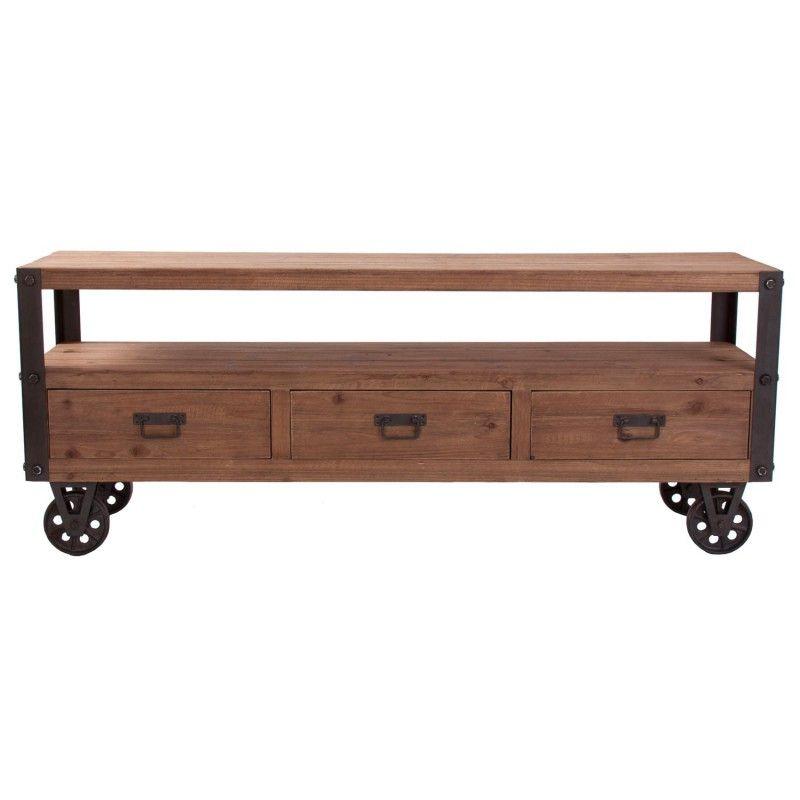 Mueble de televisión estilo Industrial, con ruedas metálicas | lofts ...