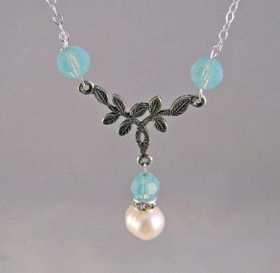 Tiny Twig Swarovski & Pearl Bridesmaid Necklace by deblane144, $24.00