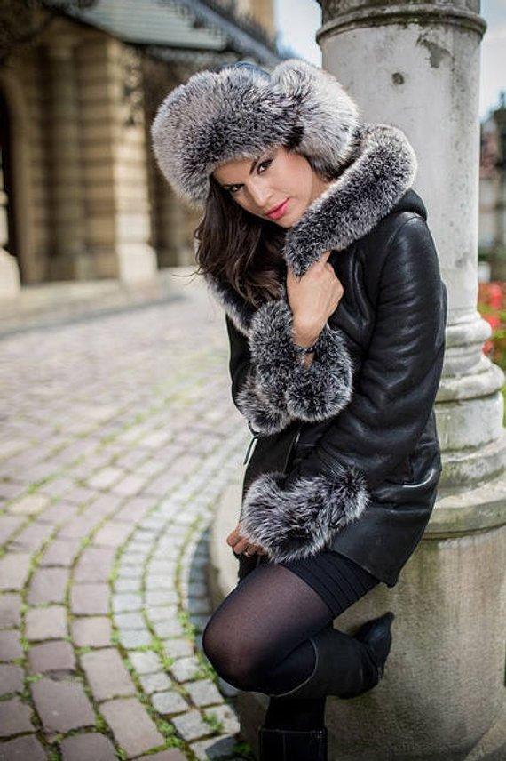 606268d2b5f15 Real LEATHER women jacket with FOX FUR Woman s black sheppskin coat new  shearling coat vest warm win