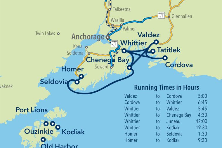 Route map and running times of the South Central Region | ALASKA! in ...