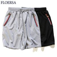 FLOERSA Fashion Loose Casual Shorts Men Jogger Solid Color Cotton High Quality Beach Shorts Zipper Pocket Short Pants #707845
