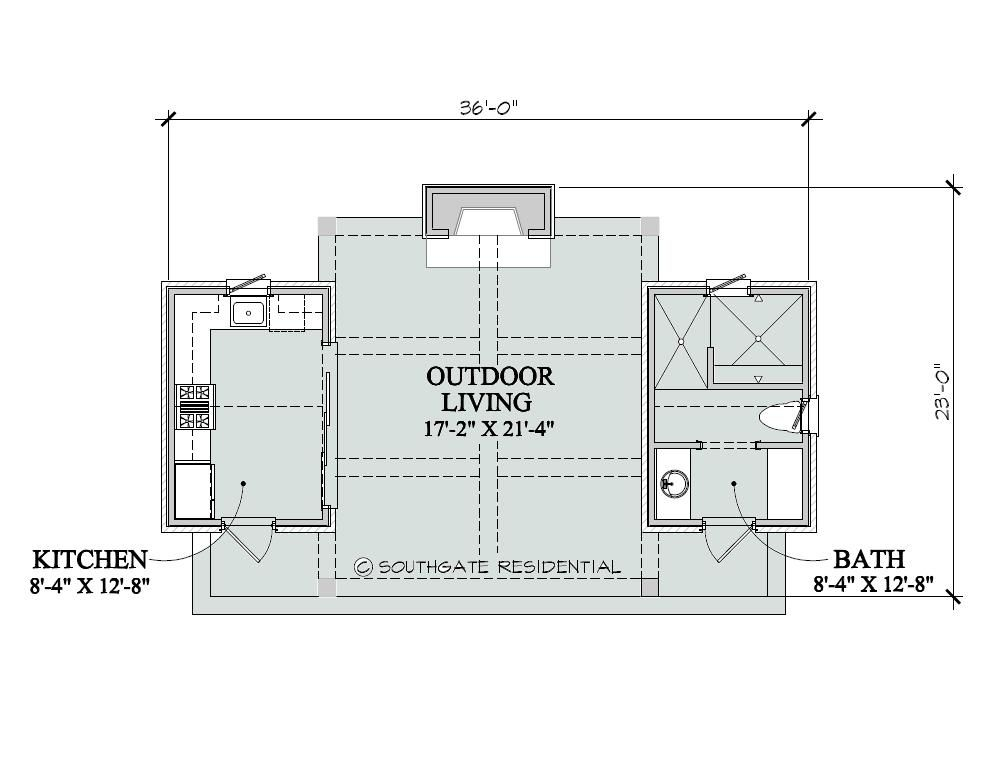 Pool house floor plans southgate residential poolhouse for Outdoor floor plan
