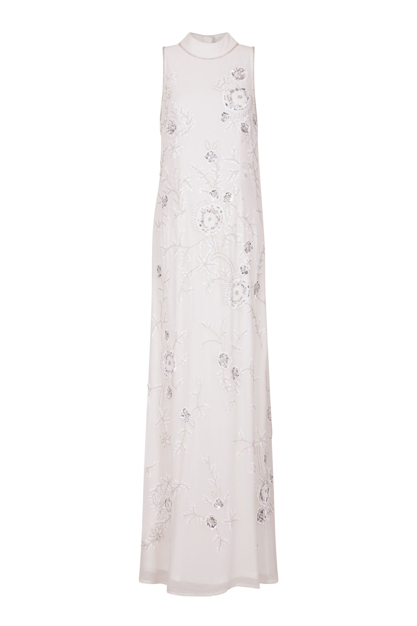 1838498c6f4 Frock and Frill Blossom All Over Embellished High Neck Trophy Maxi Dress