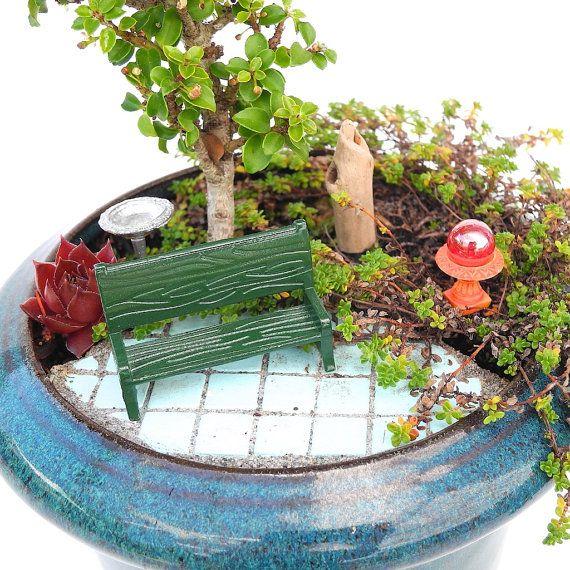 TINY Miniature Garden Set With Bench, Gazing Ball, Birdbath And Stump Or  Mini Fairy Garden, Terrarium, Dish Garden, Set Of Four