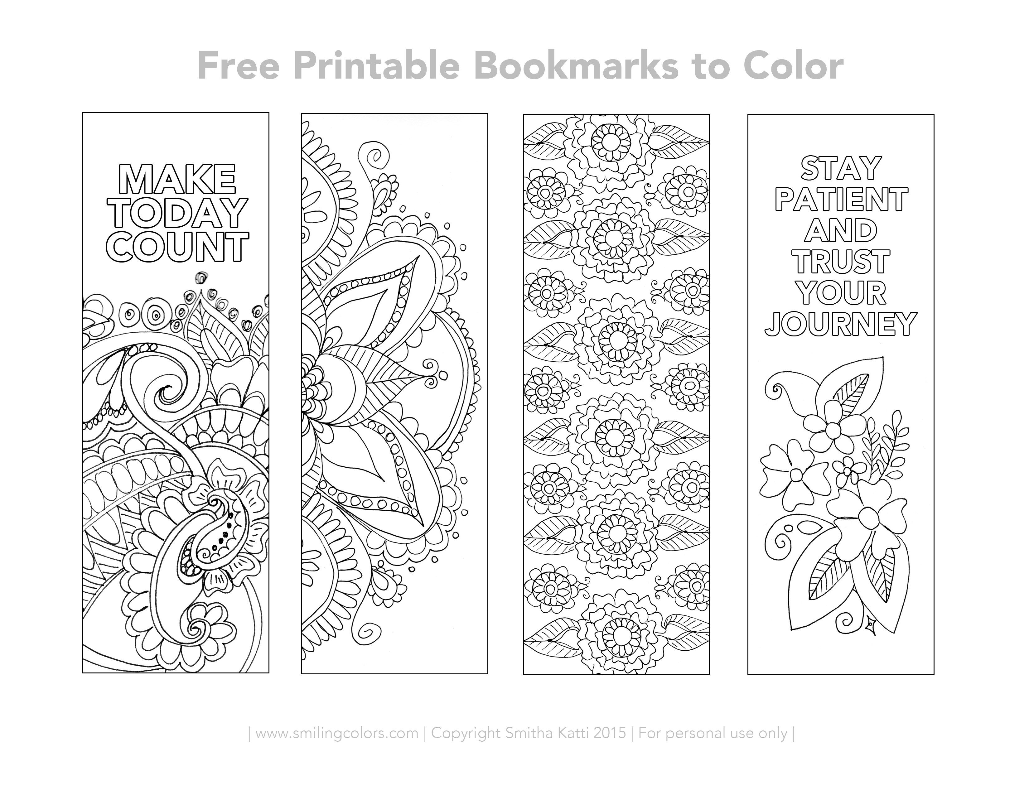 Free Printable Bookmarks to Color | dibujos | Pinterest ...