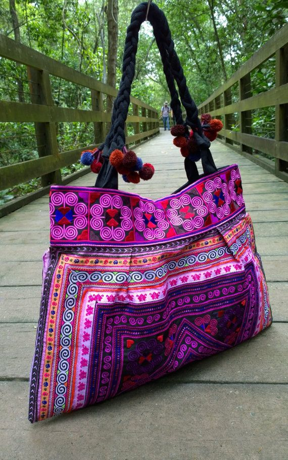 An Ethnic Boho Style Tote Bag Handmade With Traditional Hmong Embroidery This Exhibits Brilliant