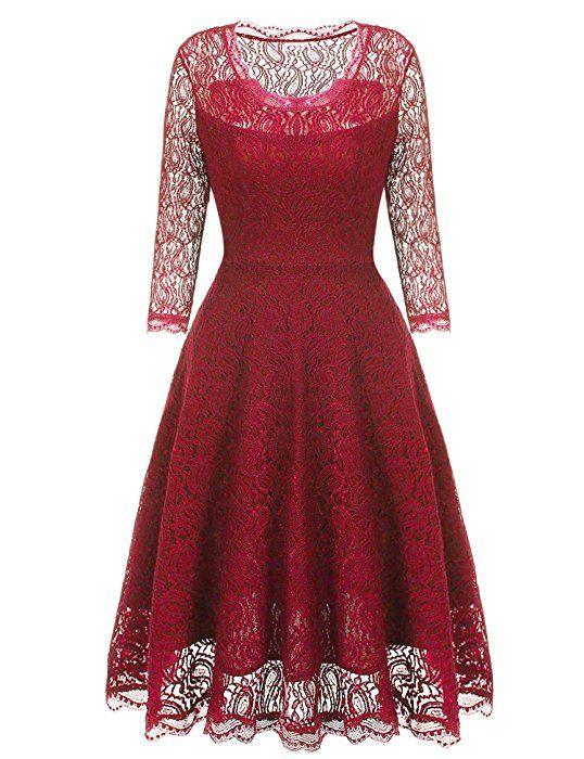 Beyove Vintage Damen Kleid Spitzenkleid Cocktaikleid Festlich ...