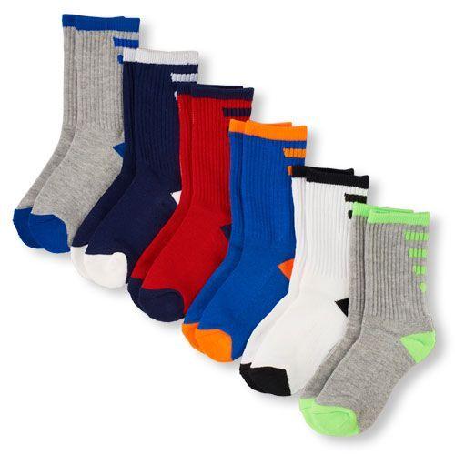 Boys Boys Ankle Stripe Crew Socks 6-Pack - Gray - The Children's Place