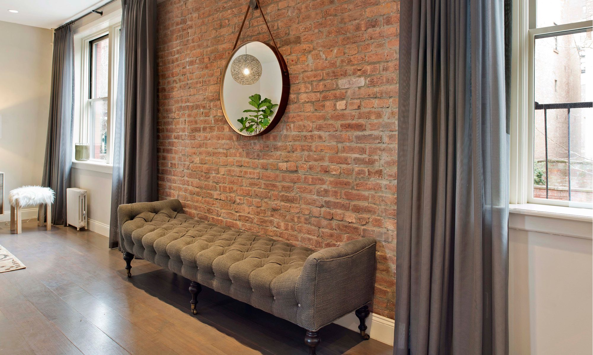 Brooklyn Heights Accent walls in living room, Brick wall