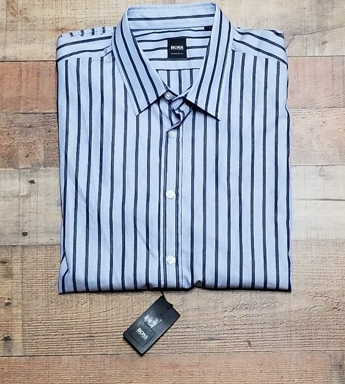 4e2a0518675 Hugo Boss Dress Shirt Size 2x Mens Blue Striped NWT  155 Long sleeve button  down  HUGOBOSS  Business