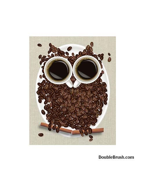 This Combines My Love For Owls Coffee Coffee Art Print Coffee