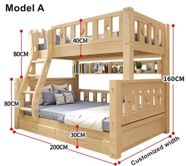 Louis Fashion Children Bunk Bed Real Pine Wood With Ladder Stair Drawe Diy Bunk Bed Wooden Bunk Beds Bunk Beds With Stairs Full size wooden bunk beds