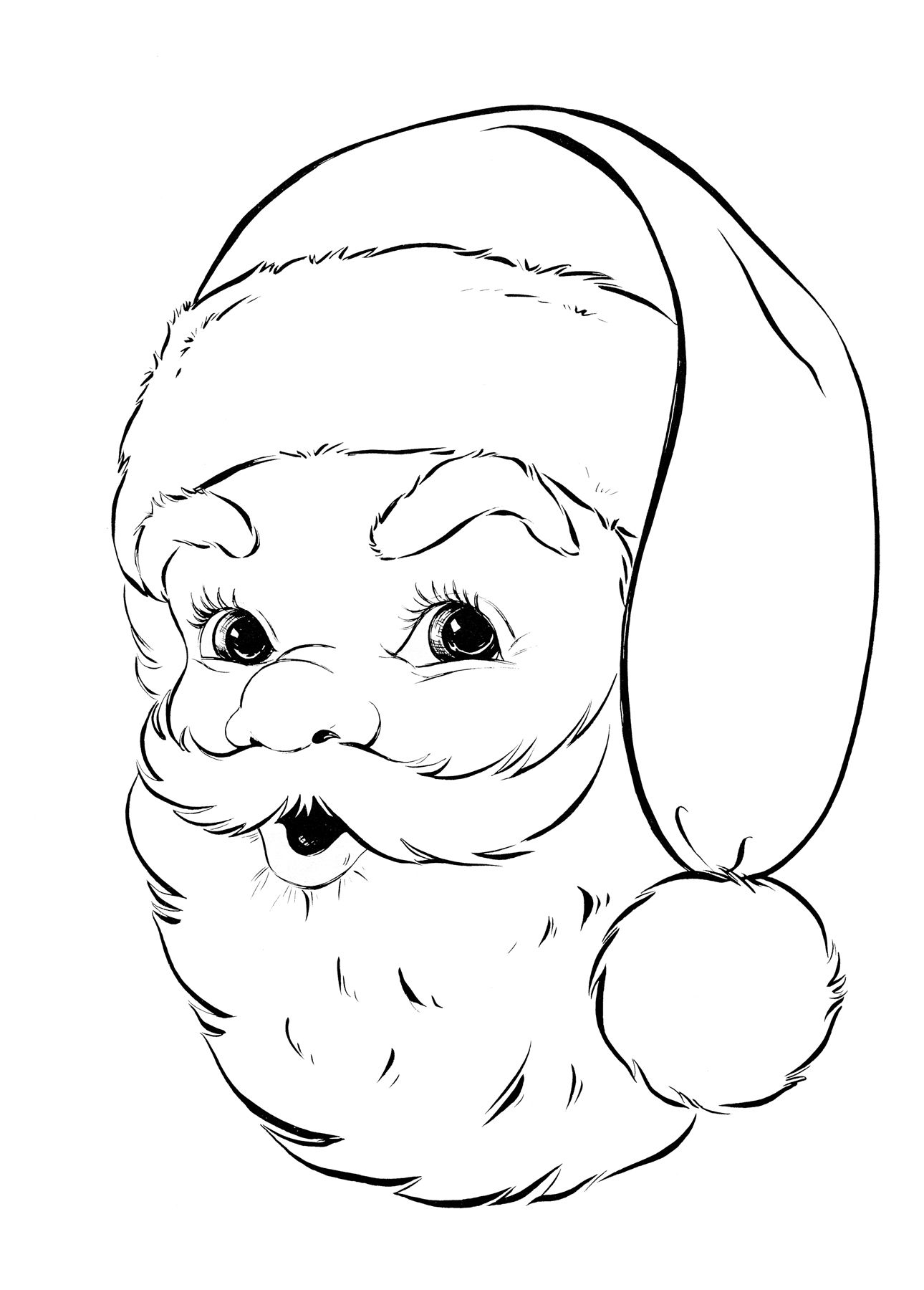 Retro Santa Coloring Page Retro Santa face and Face