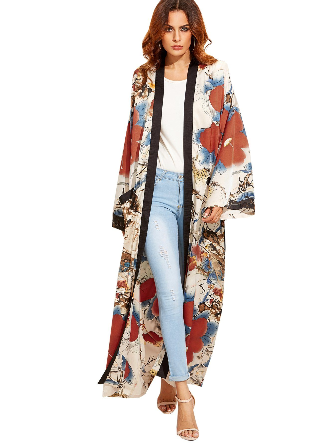 Floerns Women's Maxi Floral Kimono Cardigan Long Sleeve Cover Up ...