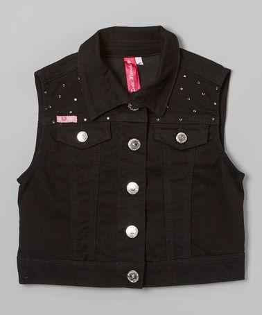 Love this Black Rhinestone Denim Vest by Cutie Patootie on #zulily! #zulilyfinds