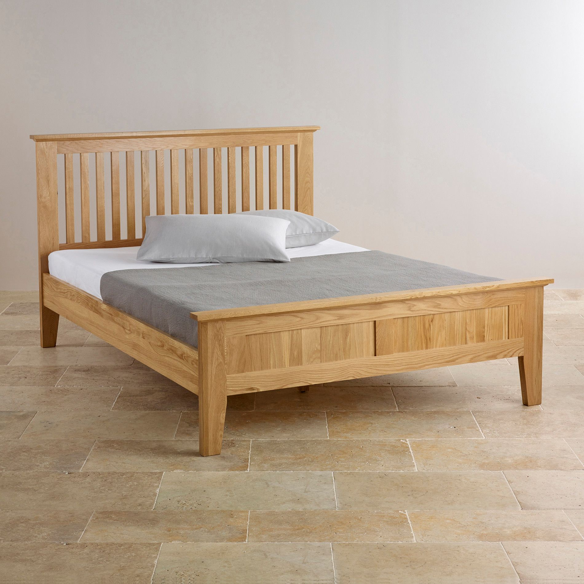 4ft Double Bed Size Bevel Solid Oak 4ft 6