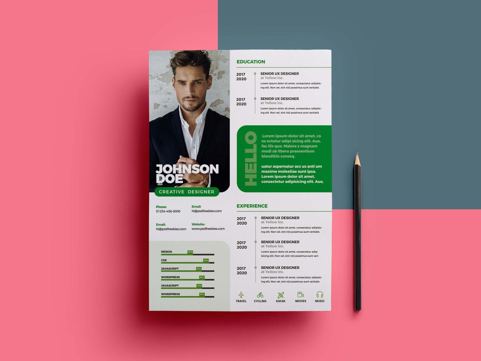 Free Professional PSD Resume Template in 2020 Resume
