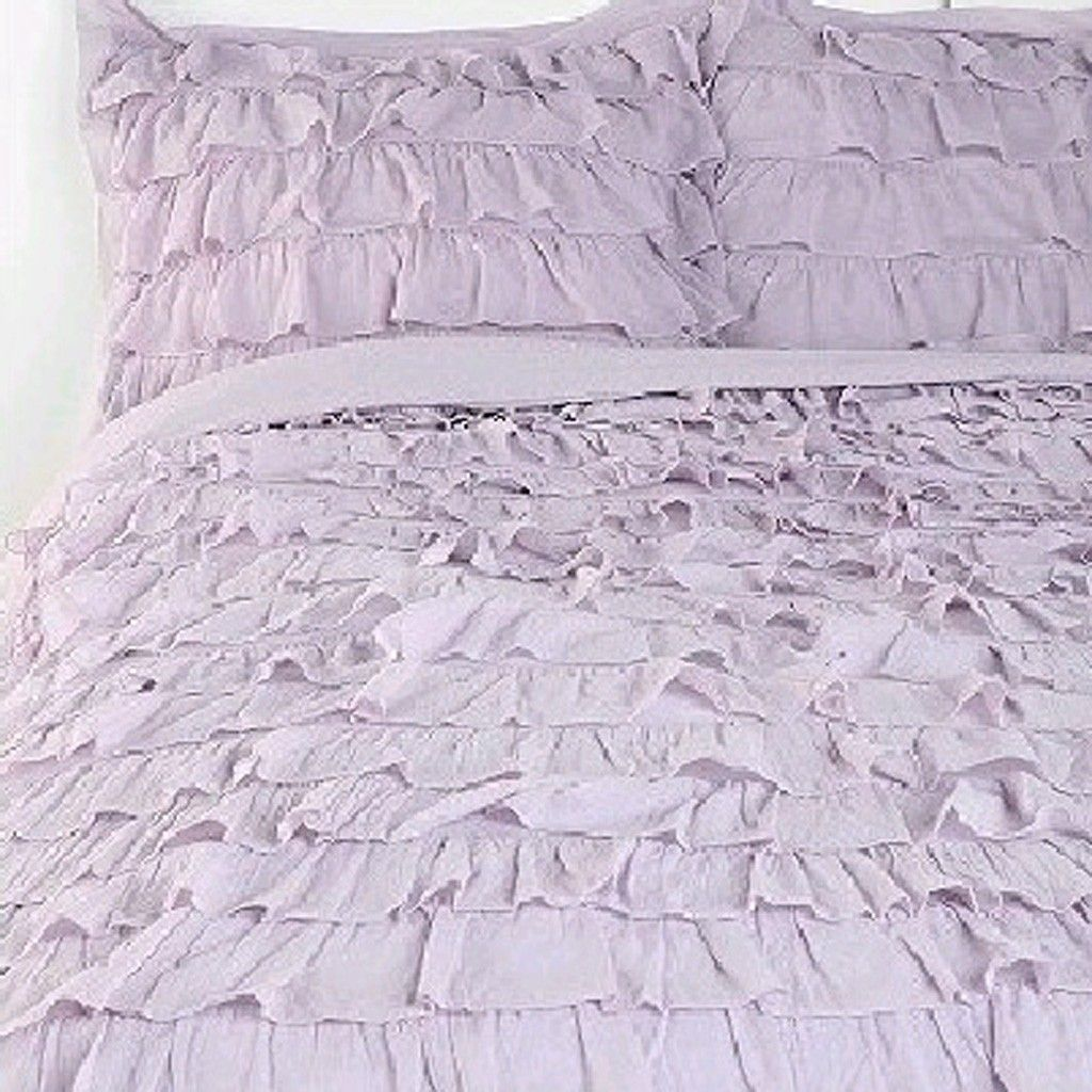 Purple waterfall ruffle bedding set ruffle bedding bed for Frilly bedspreads