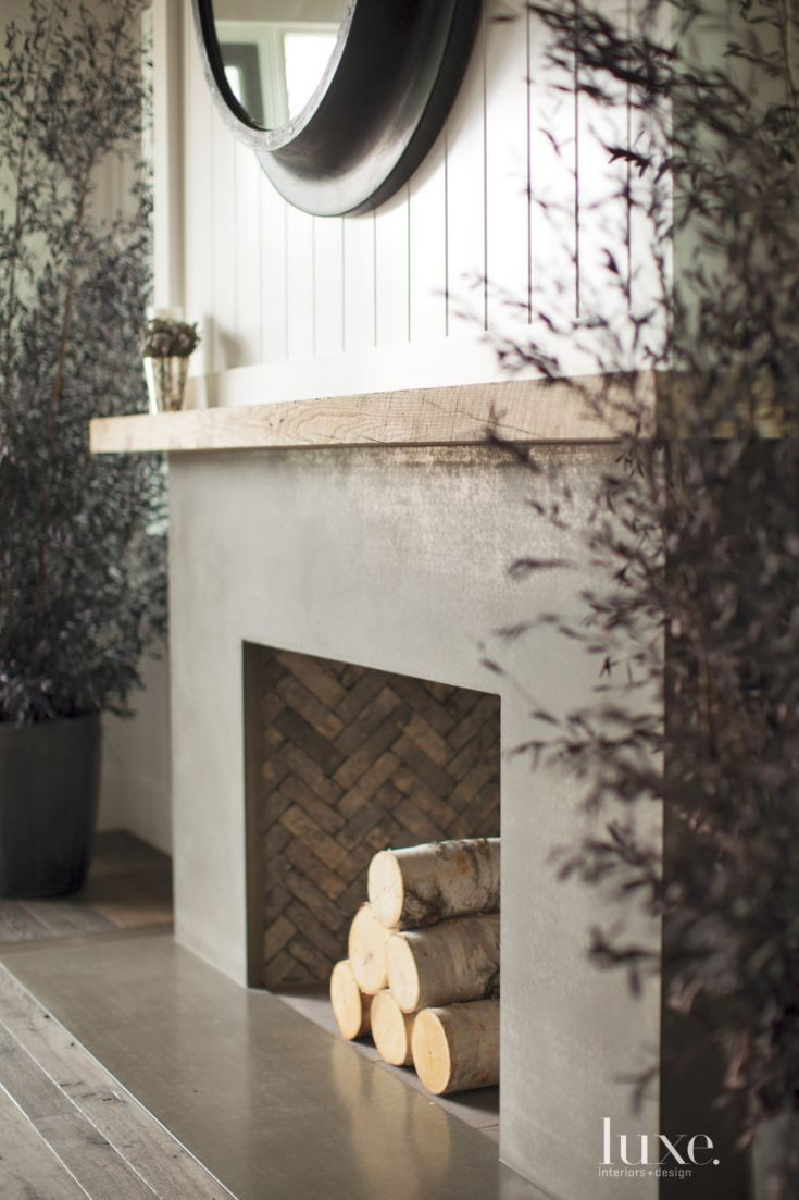Contemporary wood fireplace mantel luxe living rooms pinterest wood fireplace fireplace - Concrete fireplace mantel shelf ...