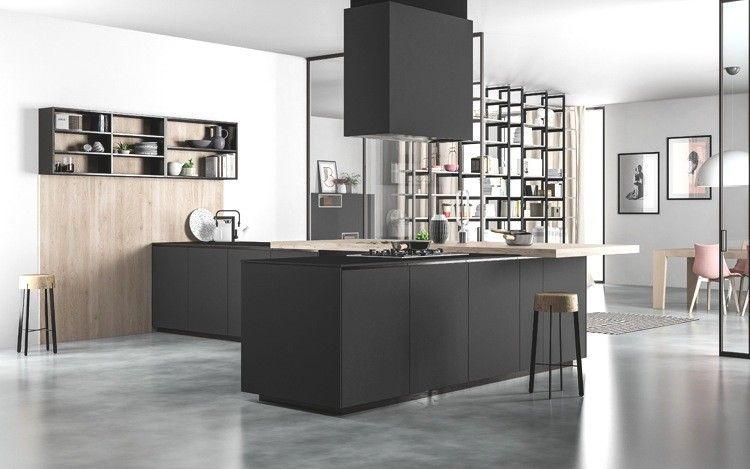 Progetto 2 - Cucina con isola in finitura Fenix NTM Nero e profilo ...