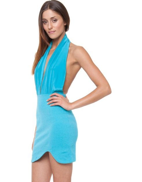 Halter-neck mini dress. The Maurie & Eve Heatwave Mini Dress has a plunging v-neckline, and features 100% silk halter-neck straps. The dress has an open back design, and a contrast mini skirt with an asymmetrical hemline.