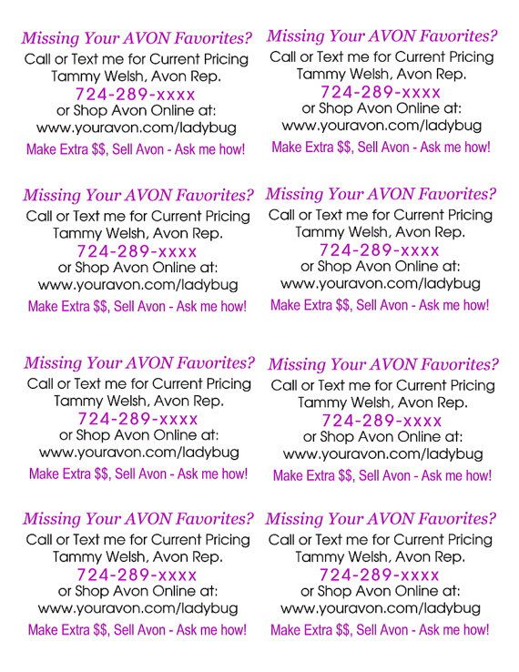 DIY Custom AVON Book Tossing Slips Perfect for by BerryBeanLabels - missing flyer template