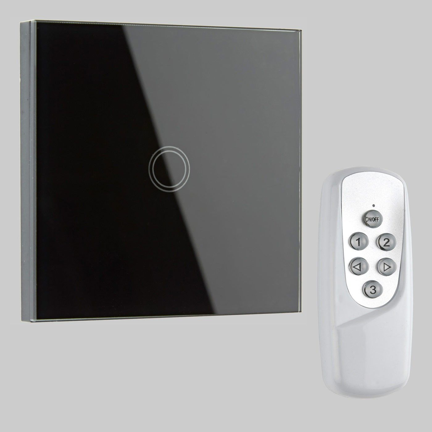 biard 1 gang black glass designer touch light switch remote controlled