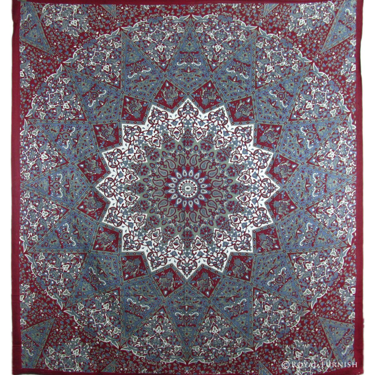 Maroon Indian Star Hippie Mandala Tapestry Wall
