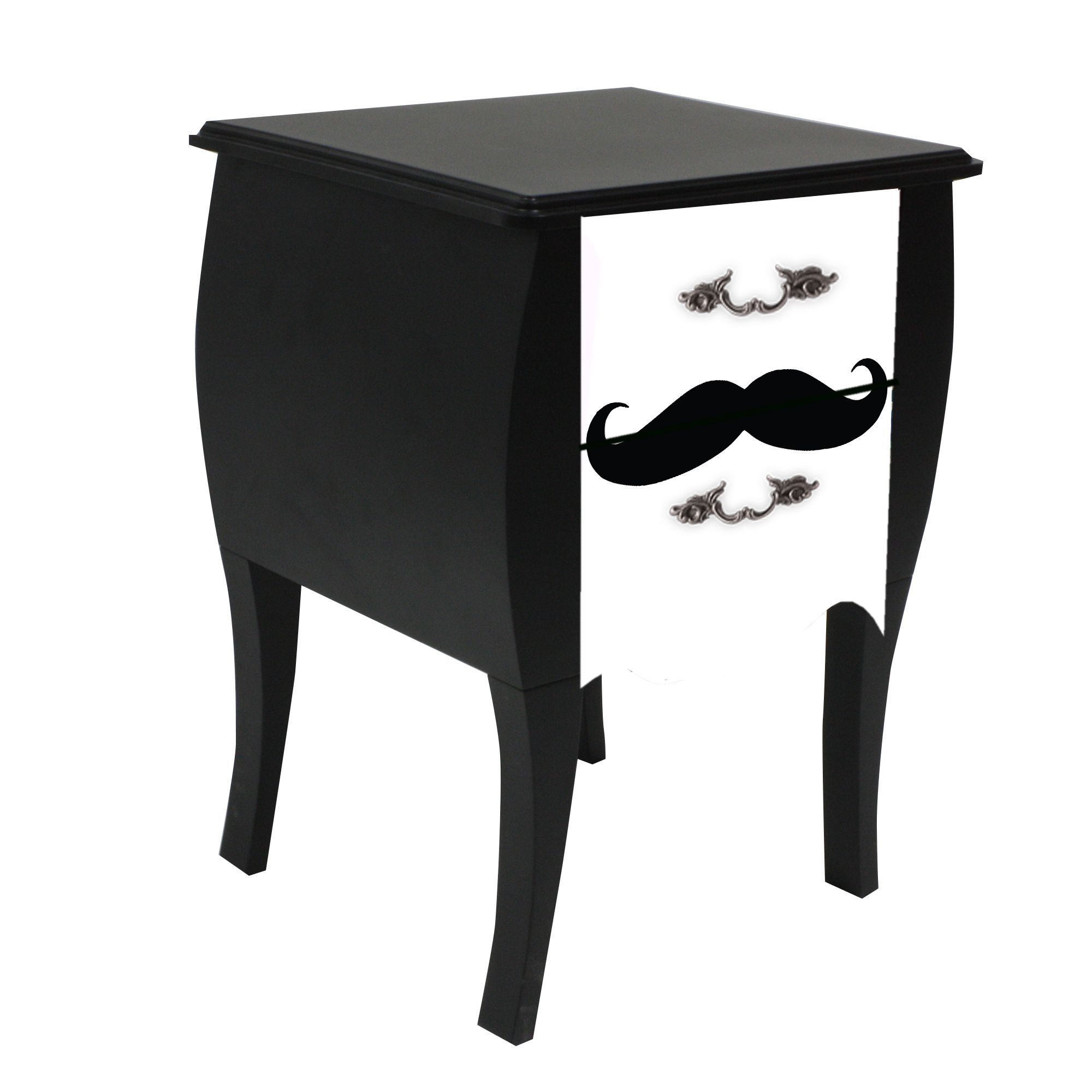 Table De Chevet A 2 Tiroirs Imprime Moustache Print Baroque