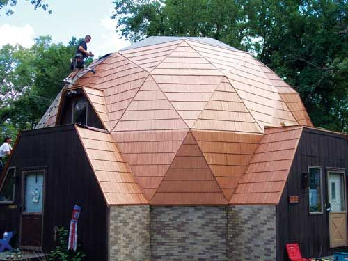 What S New With Metal Shingles Roof Architecture Fibreglass Roof Geodesic Dome Homes