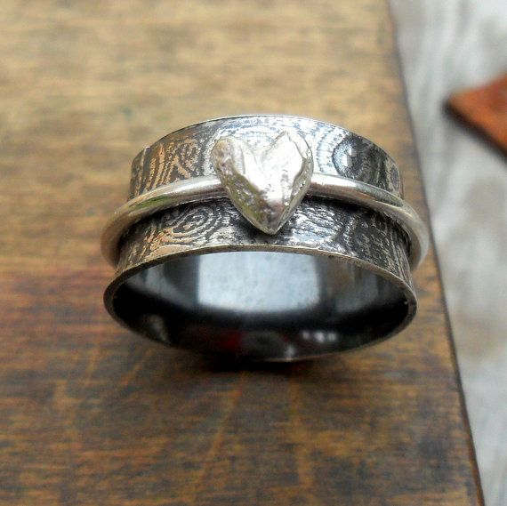 Paisley & Heart Wide Spinner Ring by StudioJewellerybyJo on Etsy