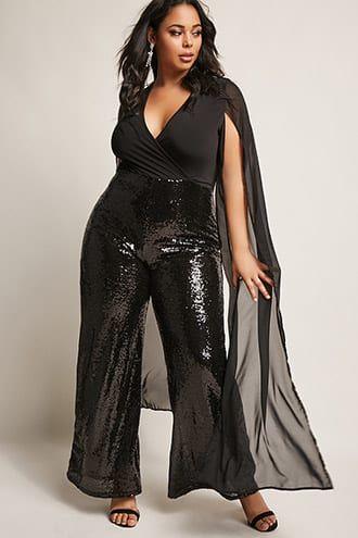 Plus Size Sequin Wide-Leg Jumpsuit   Trendy Plus Size Fashion ...