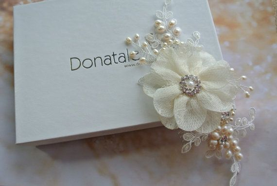 Bridal Hair Comb Ivory Cream Hair Flower by DonataleAccessories