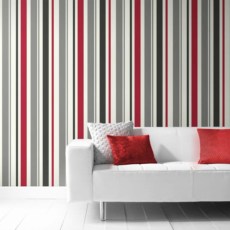 Papier Peint A Rayure Gris Et Blanc papier peint vinyle sur intissé inspire rayure, rouge