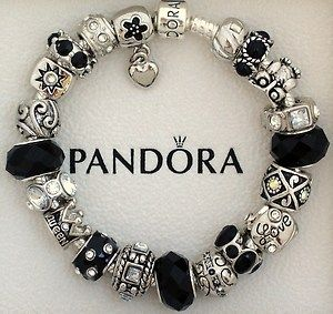 764098540 New Authentic S Silver Pandora Bracelet Black Love Heart Charms Holiday  Gift…