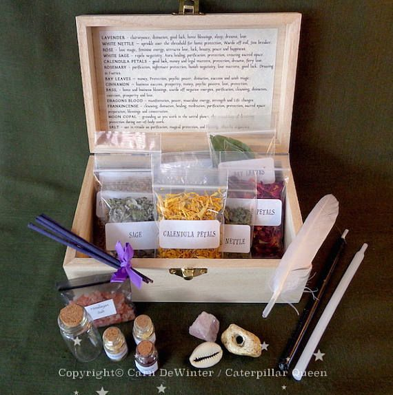 Witches Herb Box - Wicca Starter Kit for Witch Spells and Incense