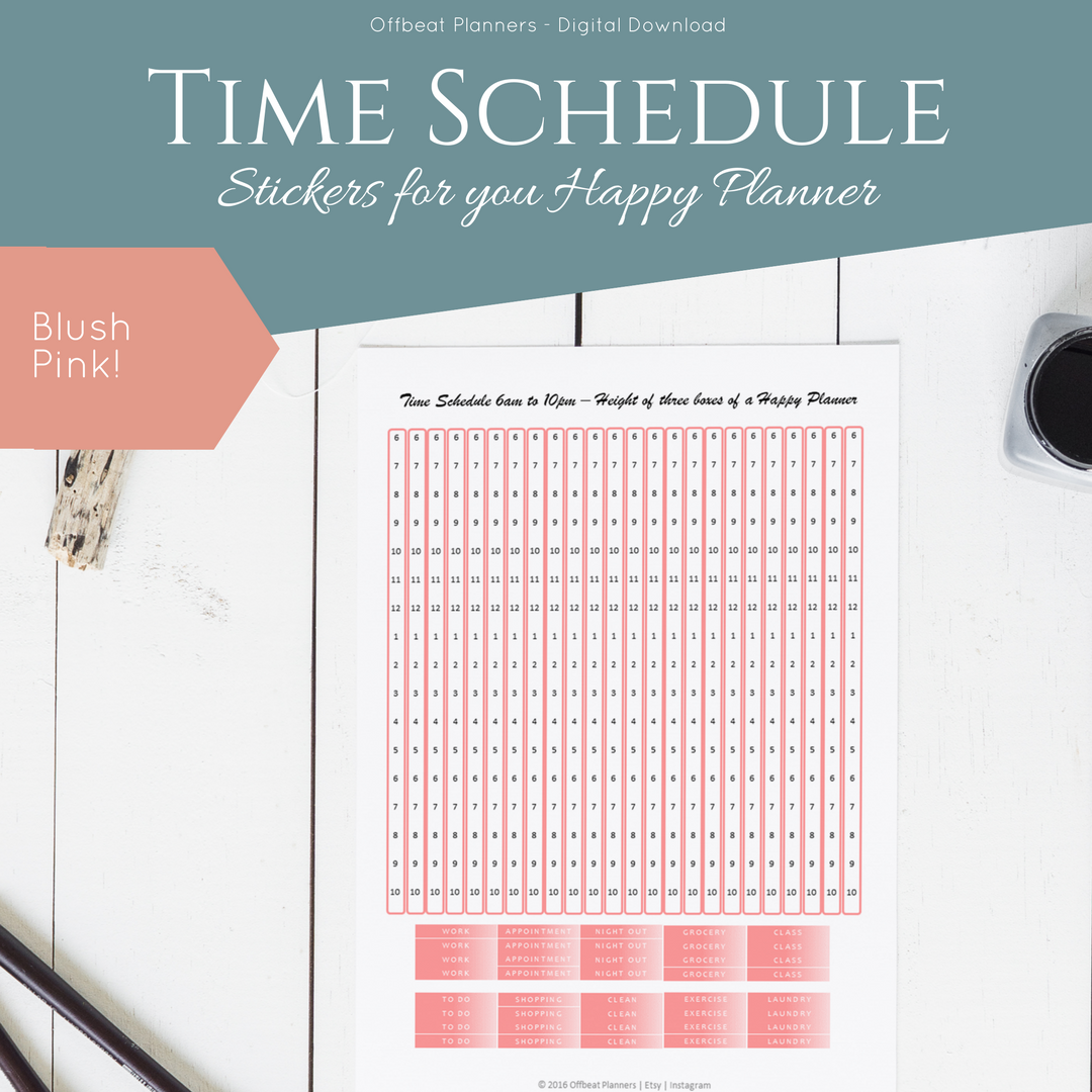 hourly stickers time schedule for your vertical happy planner blush pink and grey