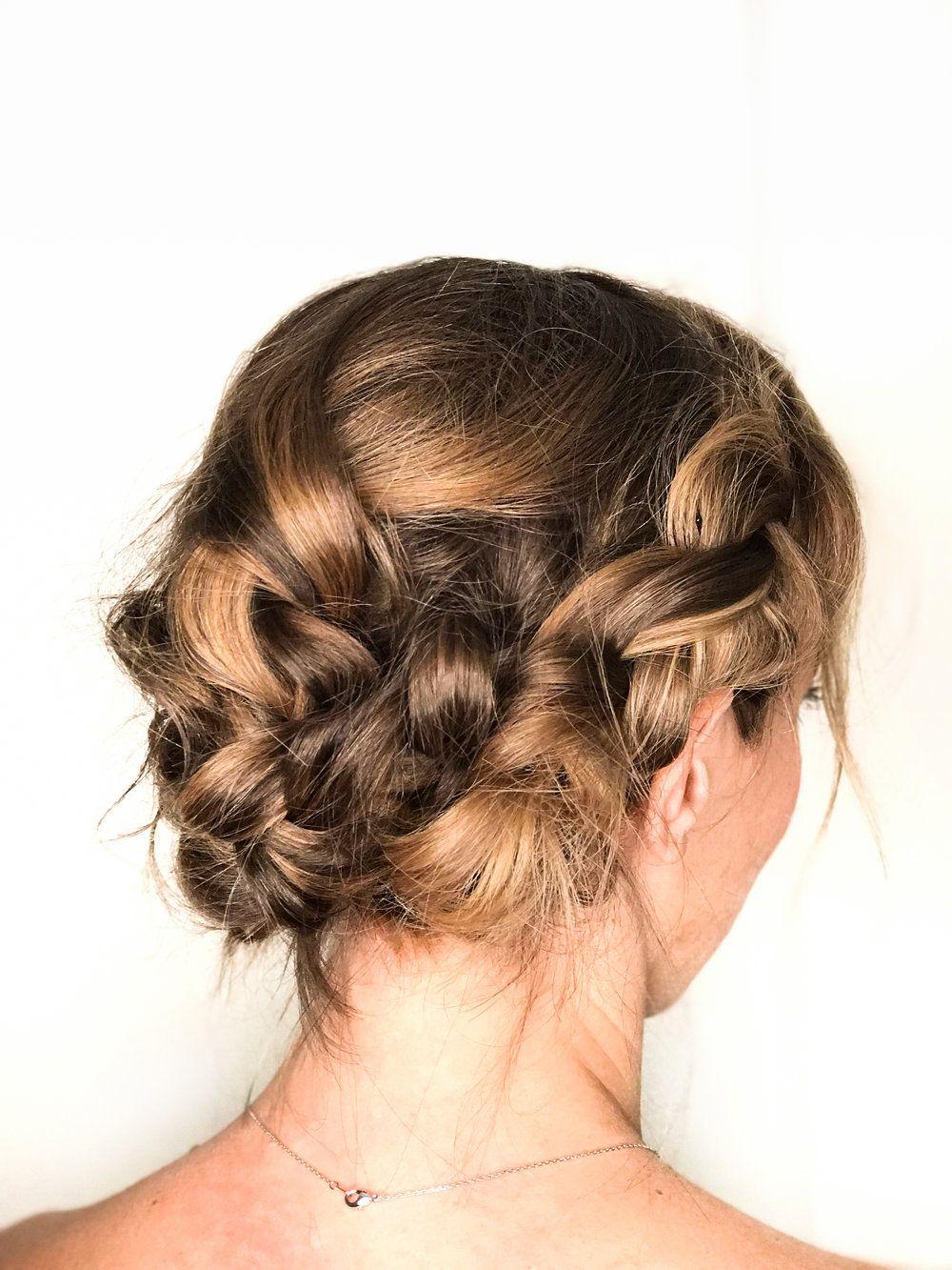 Boho Braided Updo for Short Hair   Short wedding hair ...