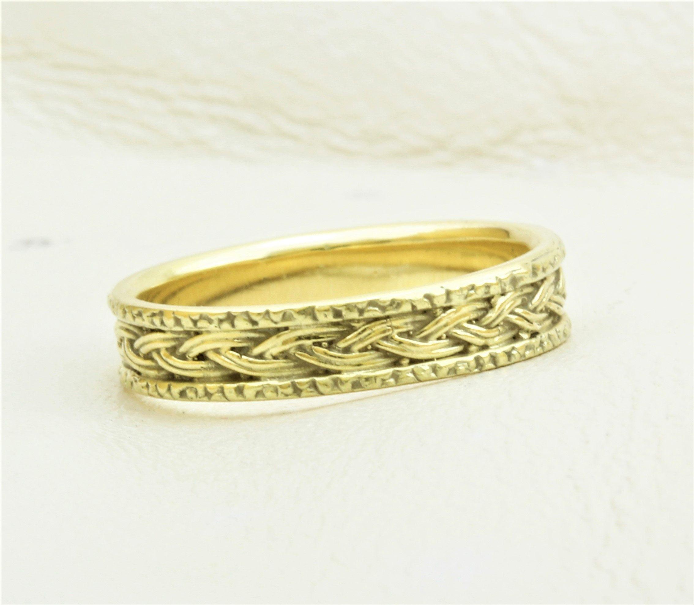 Gold Braided Ring, Braided Wedding Band, Eternity Wedding