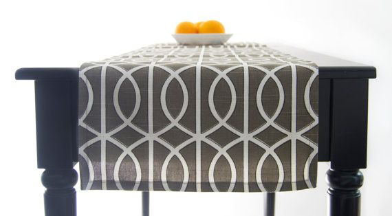 Modern Brown Table Runner Grey Brown Tablecloth by TheFabricAffair, $40.00
