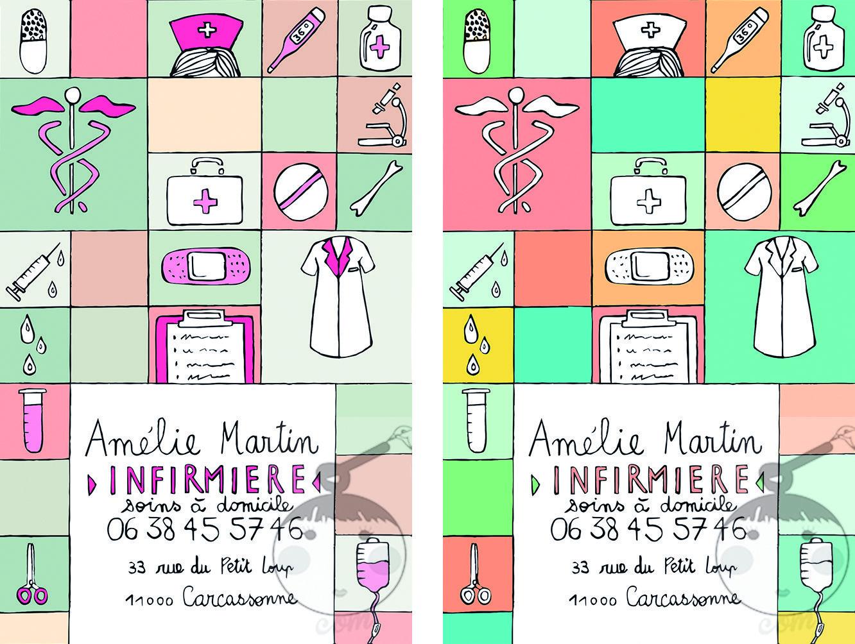 Cartes De Visite Pour Infirmiere Liberale Formule Toute Prete Plusieurs Modeles Au Choix Sur Avamartin Illustration Et