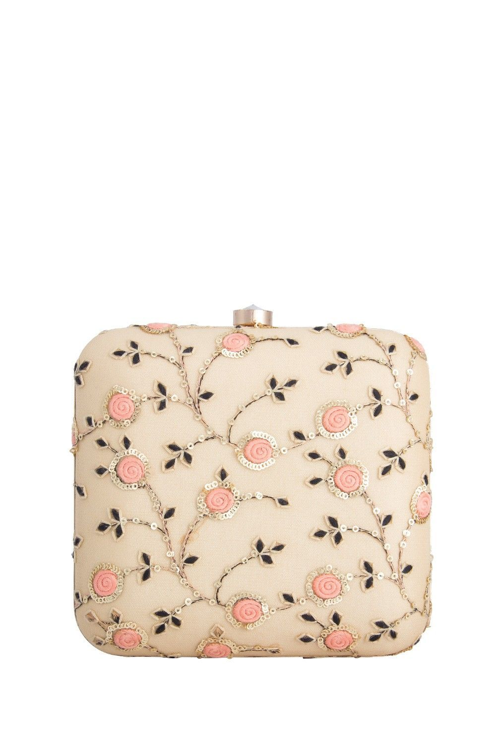 670b40787f198 Gold & Peach Embroidered Clutch #zardosiclutches | Clutches and ...